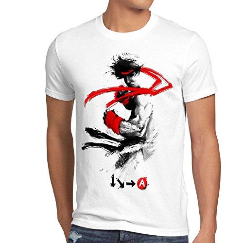 style3 Childhood Hero Fighter T-Shirt Herren final snes ps ps2 ps3 street beat em up arcade, Größe:L, Farbe:Weiß (Ps2 Komplett Konsole)