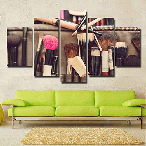 Yhnmlp Modulare Malerei Leinwand Wandkunst Bild Home Decoration Wohnzimmer Leinwanddruck Moderne Make-Up Pinsel Poster 5 Panel/Set gerahmte,30x40 30x60 30x80cm