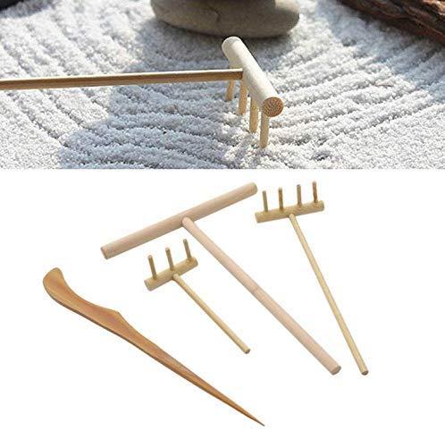 Gwill Ein Satz von 4 Mini Bambus Zen Gartenwerkzeug Rake Sand Rock Push Zeichnung Art Kit Sand Push Pen Set Desktop Dekor Zubehör