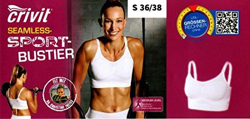 Crivit Damen Fitness-Seamless-Sport-Bustier High Level Seamless Weiß S 36-38