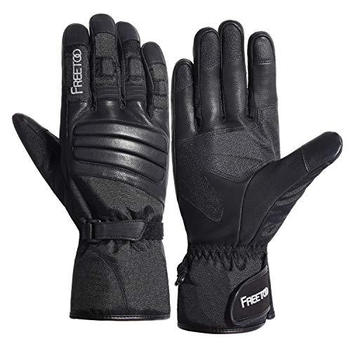 FREETOO Winter Handschuhe für Herren und Damen Wasserdichte Warme Handschuhe mit Ziegenleder, Touchscreen Motorrad Handschuhe für Outdoor Arbeiten (Schwarz, L.)