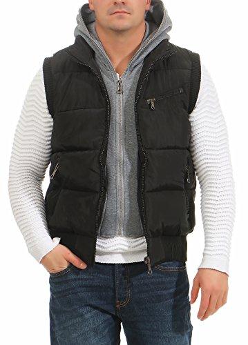 4448 Fashion4Young Herren Weste Steppweste Outdoor Bodywarmer Übergangsjacke Streetwear Schwarz