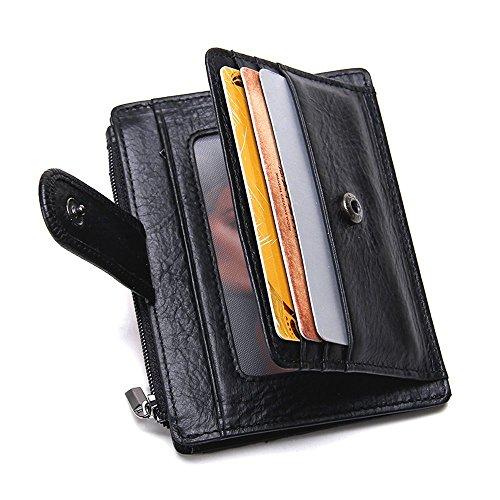 Flaches Herren Portemonnaie, SHOWTIMEZ Mini Börse Geldklammer mit Kreditkartenetui aus echtem Leder Kleine ID-Kartenhalter Querformat Geldbörse Geldbeutel (Id-kartenhalter Geldbörse)
