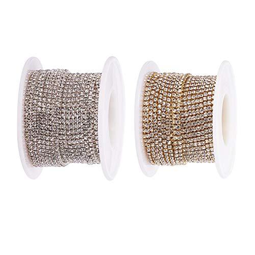 Benecreat 2 rolls 10 yard crystal strass artigianato da cucire a catena di articolazione, 2mm - argento e oro (fondo argento)