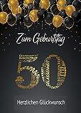Elegante Glückwunschkarte A5 Geburtstag Geburtstagskarte mit Nummer und Glückwünschen Schwarz Gold