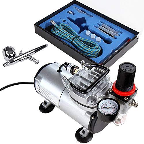 Timbertech Airbrush-Set mit Kompressor, Double Action Airbrush Pistole und Zubehör (Düsen, Schlauch etc..) (Lackierer Maschine)