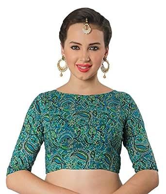 Studio Shringaar Women's Cotton Readymade Saree Blouse (S1899Gr34_Green_34)