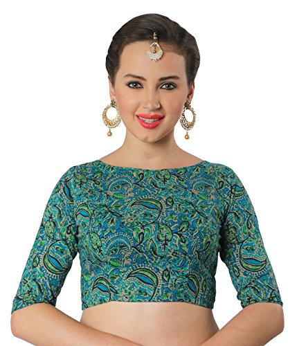 STUDIO SHRINGAAR TRADITIONAL BAGRU PRINTED PURE COTTON BOAT NECK READY TO WEAR SAREE BLOUSE WITH ELBOW LENGTH SLEEVES  available at amazon for Rs.599