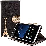 kwmobile Hülle für Sony Xperia Z1 - Wallet Case Handy Schutzhülle Kunstleder - Handycover Klapphülle mit Kartenfach und Ständer Eiffelturm Strass Design Gold Schwarz
