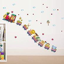 MiniWall Pared cama extraíble para niños salón cartoon bebé Decoración de pared Indicador de altura de medición de altura del animal carteles pegatina,cómic mini-tren, máximo