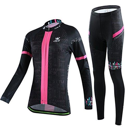 GWELL Damen Radtrikot Set Atmungsaktive Radsport Fahrrad Trikot Langarm + Radhose mit Sitzpolster rosa L