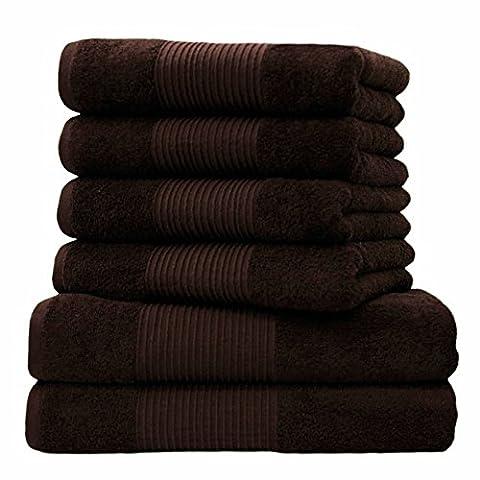 Liness 6 tlg Handtücher Set braun 4 Handtücher braun 50x100 cm 2 Duschtücher Badetücher 70x140 cm 100% Baumwolle Frottee Handtuch-Set braun