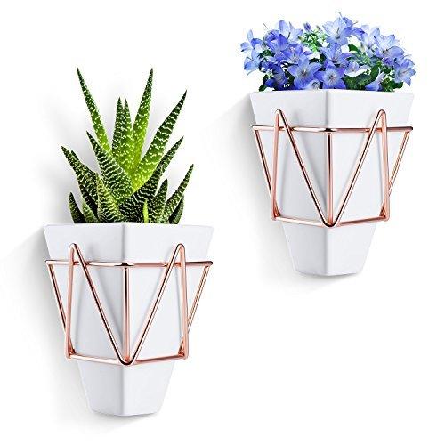 love-kankei Wandbehang Pflanzgefäßen Vase für vollmundigen, Air Pflanzen, Mini Cactus, künstlicher Kaktus, Blumen und mehr, Weiß Keramik mit Kupfer Schreibtisch Geometrische Blumenkübel (Air Pflanzen Schreibtisch)