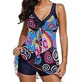 Yying Frauen Sports Zweiteilig Bikini Set Badeanzug Push Up Tankini Röckchen Badekleid Neckholder Badeanzug mit Shorts Swimsuit Große Größe Schwarz Blau Lila