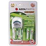 AgfaPhoto Wirtschaft Übernacht-Ladegerät–mit 4x AA 800mAh Batterien