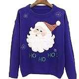 Shujin Damen Herbst Winter Weihnachtspullover Strickpullover Long Sleeve Loose mit Weihnachtsmotiv Stickerei Sweatshit Langarmshirt Pulli Jumper