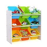 Spielzeugregal Spielzeugkiste Kommode mit 9 Kunststoffkästen für Spielzeug und Bücher Multi Toy Organizer