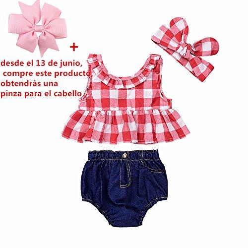 Fossen Ropa Bebe Niña Verano Recien Nacido Bebé Tops de cuadros Y Caqueros Corto con Banda de pelo (2 años, Rojo)