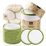 Greenzla Dischetti Struccanti Lavabili (18 Pack) con sacchetto di lavanderia lavabile e scatola rotonda per lo stoccaggio | 100% cotone organico di bambù | Dischetti struccanti riutilizzabili bambù