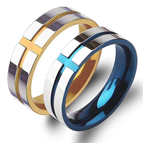 Bishilin Ehering Paarepreise Frauen Männer Edelstahl Kreuz Rund Breit 6 MM Verlobung Ringe Paarringe Gold Blau Damen Gr.62 (19.7) + Herren Gr.54 (17.2)