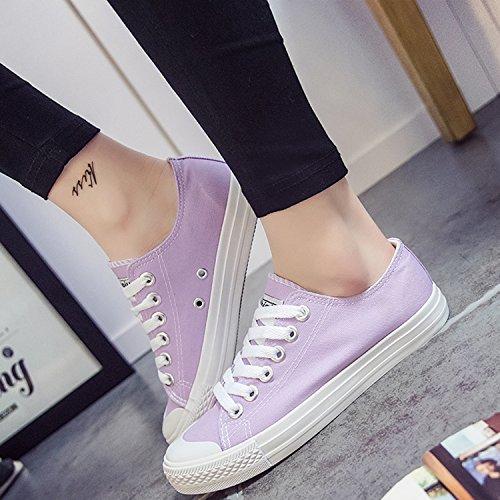 Oasap Femme Mode Sneakers Bout Rond A Lacet Talons Plats En Canevas Burgundy
