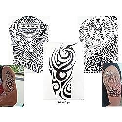 TRIBAL TATTOO SCHWARZ 3 Bögen Temporär Arm Oberarm Tattoo Aufkleber Tribal 3