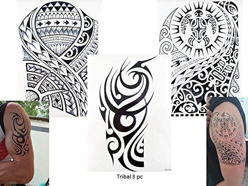 Z 3 Bögen Temporär Arm Oberarm Tattoo Aufkleber Tribal 3 (Tribal-make-up)