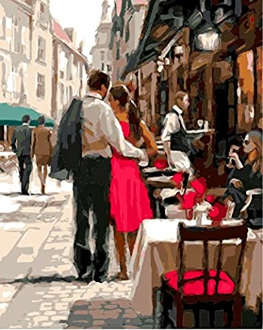 OBELLA Painting by Numbers Kits || Romantic Couple on the Street 50 x 40 cm || Paint by Numbers, Digital Oil Painting,