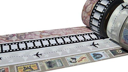 Washi-Band-Sets, dekoratives Abdeckband, 15mm x 10Meter Rollen, Auswahl an Designs und Farben Travel -