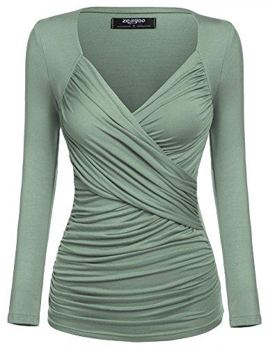 Zeagoo Damen V-Ausschnitt Langarmshirt Tunika Bluse Obertail T-Shirt mit Rüschen, grün, L