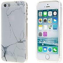 iPhone 5C Carcasa , ZXLZKQ Súper Delgado Blanco Negro Natural Mármol 3D TPU Gel Cubierta De Suave Silicona Funda Tapa para Apple iPhone 5C (no para iPhone 5 5S SE)