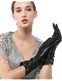 Nappaglo Damen Italienisches Lammfell Leder Handschuhe Winter Warm Langes Fleecefutter Handschuhe