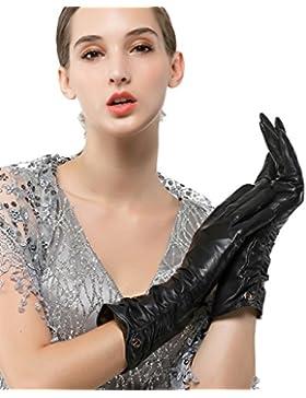 nappaglo donne italiane di pelle guanti di pelle inverno caldo semplice lungo vello fodera guanti (touchscreen...
