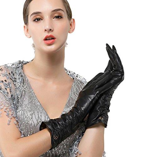 Nappaglo Damen Italienisches Lammfell Leder Handschuhe Winter Warm Langes Fleecefutter Handschuhe (M (Umfang der Handfläche:17.8-19.0cm), Schwarz(Touchscreen))