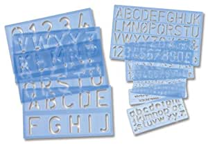 Helix Lettering Stencil Set of of Letters Numbers and £/p Symbols Multiple Sizes 9-piece Ref H20000