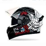 Casque Moto, Casque De Moto Intégral À Double Lentille Anti-Buée, Vélo De Montagne Unisexe Véhicule Tout-Terrain VTT Casque De Karting À Clapet,B,XL