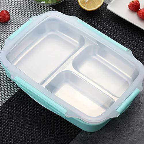 Moocevill - Lunchbox Edelstahl Tragbare Picknick-Büro-Schule-Nahrungsmittelbehälter mit Fächern Microwavable Thermal Bento Box [Grün] (Planetbox-lunch-box)