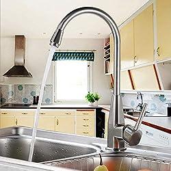 Auralum Chrom Küchenarmatur Mischbatterie Wasserhahn Armatur Waschtischarmatur Waschbecken Spüle Wasserfall für Küche Type B