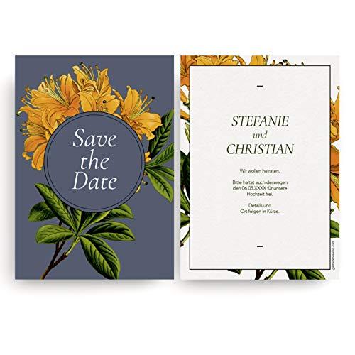 (60 x) Save the Date Karten zur Hochzeit Einladungskarten Hochzeitseinladungen Blumen