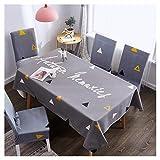 Tovaglia Rettangolare Impermeabile Facile Manutenzione Cotone Lino Decorativo Copritavolo Cucina Sala da Pranzo Festa Tovaglia Panno della Sedia Set Quattro coperture per sedie Grigio Elegante