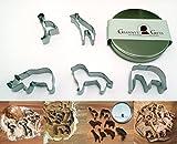 Ausstechform-Set Tiere von GRANNY'S GIFTS - 5 Safari Tiere in edler, eleganter Metall-Box - Elefant, Löwe, Nashorn, Giraffe, Strauß - INKLUSIVE Rezepten