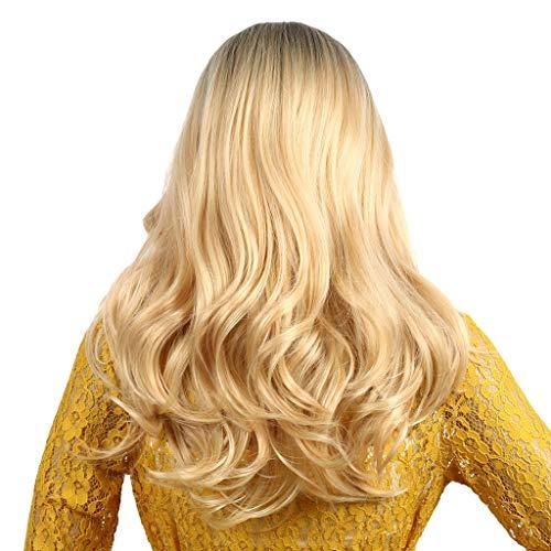 DOGZI Perücke Kostüm Langhaar Haarnetz, Mode Rosa Grün Rot Gold Lange Lockige Haare Perücke Synthetische Wasserwelle Langes Haar