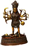 Ten-Armed Goddess Kali in Her manifestation as Bhadrakali - Brass Sculpture