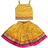 DIAMO Girls' Rayon Lehenga Choli (KID351-3-4 year, Yellow, 3-4 year)