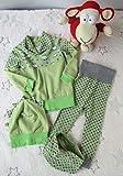 Kleiderset Babyhose, Pullover, Drachenmütze und Tuch, grün mit Sternen und Monstern (Gr. 80)