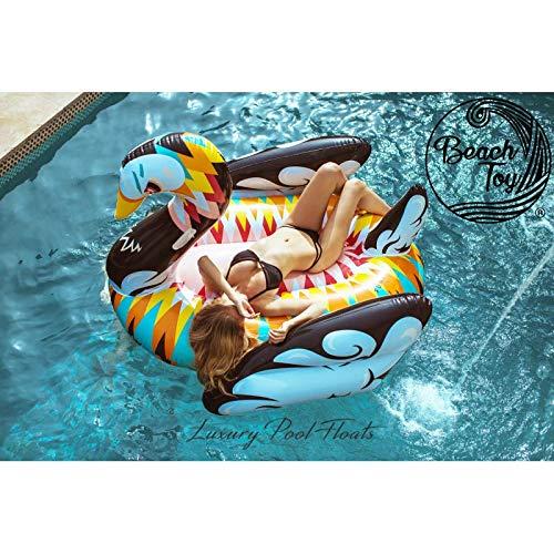 BeacHTOY Luftmatratze, aufblasbar, Schwan, Design Riese, für 2-3 Personen, 190 x 190 x 130 cm