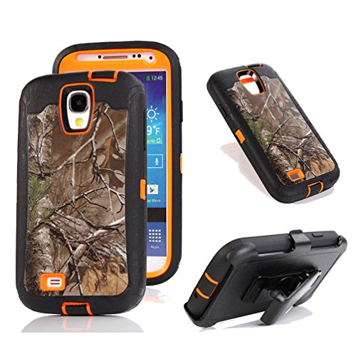 Galaxy S4 Fall, harsel Defender Series Heavy Duty Camo Tough Rugged Armor Hybrid Schutz Military mit Gürtelclip Integrierter Displayschutzfolie Schutzhülle für Galaxy S4, Xtra/Orange (T-mobile Handy Galaxy S4)