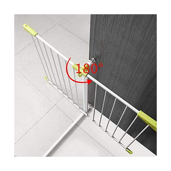 Infant child baby safety gate bar stairway fence free punching household protective railings pet dog isolation fence AA-SS-Safety Door ♥Squeeze and lift handle for easy one handed adult opening ♥Quick-release fittings for removal when not required ♥Includes stop pins for mounting at the top of stairs 5
