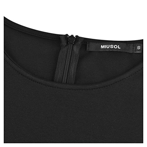 MIUSOL Femmes Vintage Robe Dentelle Manches 3/4 Swing Vêtements de Soirée Noir
