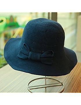 LVLIDAN Sombrero para el sol del verano Lady Anti-Sol Playa pescador sombrero de paja plegable azul